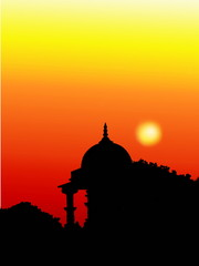 mandir at sunset view religious concept background