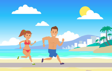 couple jogging and running on the beach