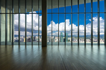 Wall Mural - empty window with panoramic cityscape