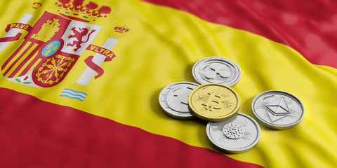 Cryptocurrency in Spain. Golden bitcoin and variety of silver virtual coins on Spain flag background. 3d illustration
