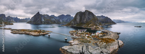 Wall mural Aerial view of fishing villages in Norway