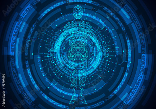 Abstract Technology Concept Human Body Digital Health Care And Circle Link Binary Future Design On