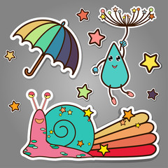 cute doodle sticker style of spring theme snail, rain drop,umbrella