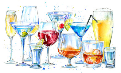 Glass of a champagne,martini,whiskey,vodka, wine,liquor, beer, cognac and cocktail. Picture of a alcoholic drink.Beverage border.Watercolor hand drawn illustration.