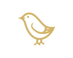 Line Art Cute Bird or Chicks Symbol Animal Logo Vector