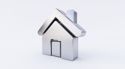 3D rendering of a metallic Home Icon on a white isolated background.