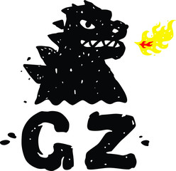 Logo, illustration of godzilla, dragon. Vector flat logo. Image is isolated on white background. Sign, mascot of the company. Corporate identity. Fire-breathing dragon logo.