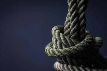 CLose-up of green climbing rope