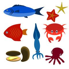 Big vector set of sea creatures