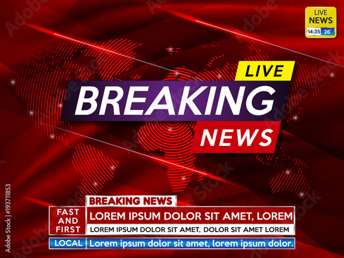 Background Screen Saver On Breaking News Live Red Technology And World