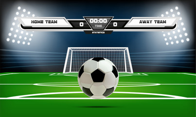 Football or soccer playing field with infographic elements and 3d ball. Sport Game. Football stadium spotlight and scoreboard background vector illustration