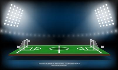 Football or soccer playing field. Sport Game. Football 3d stadium spotlight background vector illustration