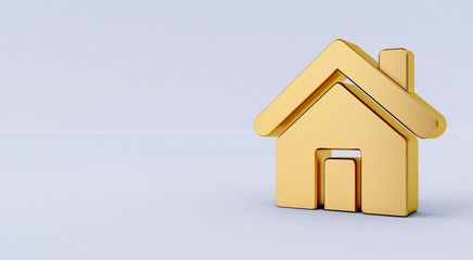 3D rendering of a golden Home Icon on a white isolated background.