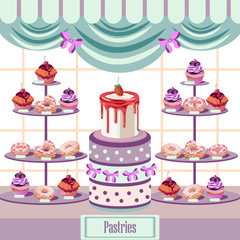 Vector bakery window shop with cakes,muffins and donuts,can be used for cards,covers,posters and any creative design