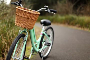 Women's bicycle on a bike path.