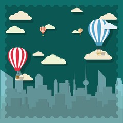 Retro hot air balloon sky background