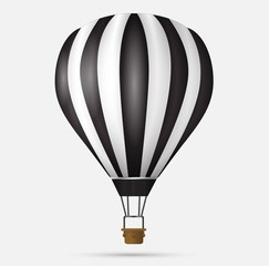 Hot air balloon icon, modern minimal flat design style symbol. Vector illustration, silhouette
