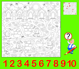 Educational page for young children. Need to find the hidden numbers and paint them. Developing skills for counting and coloring. Vector image.