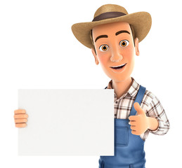 3d farmer holding placard with thumb up