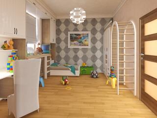 Render children room with striped bed and bookshelves. 3d illustration