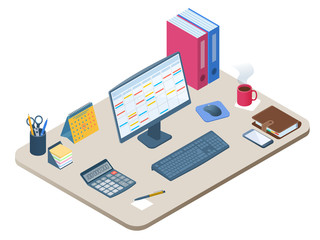 Flat isometric illustration of office workplace. Workspace with modern electronic equipment, stationery: computer monitor, mobile phone, calculator, calendar, personal planner. Vector business concept