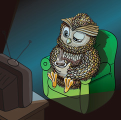 Sleepy Owl with Cup of Coffee, Watching TV Late at Night, Wahtching Sci-Fi, Comedy, Horror Movie. Funny Character