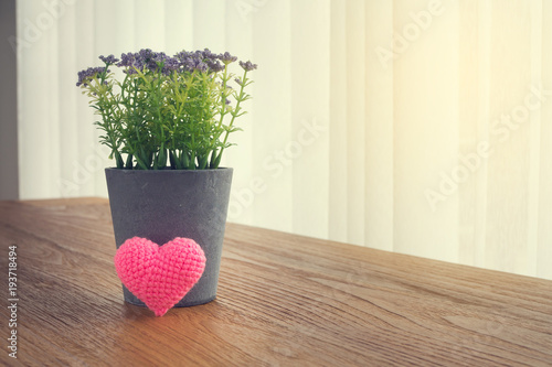 Wood Office table with Beautiful Pink knitted fabric heart shape