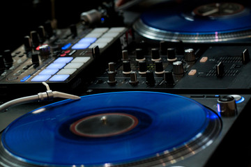 DJ console for sound management for music parties and events