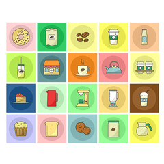 Coffee and Tea Flat Icons Set