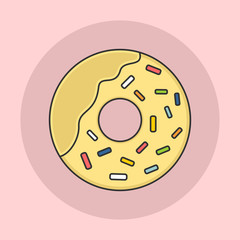 Donut With Sprinkles Flat Icon