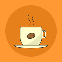 Hot Coffee Cup Flat Icon