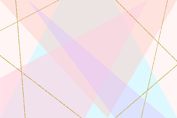 Abstract geometric composition in pastel pink, blue, purple and gold glitter lines. Modern design poster, cover, card design, birthday, wedding, baby shower. Place your text