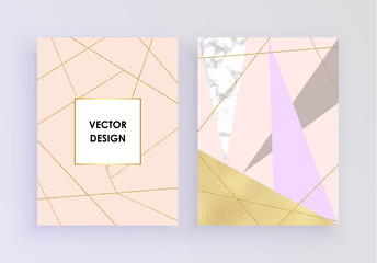 Set abstract geometric designs posters in gold and pink foil, marble, glitter, pastel pink texture background. Vector trendy geometric posters. Place your text. Template for holiday designs, card, inv