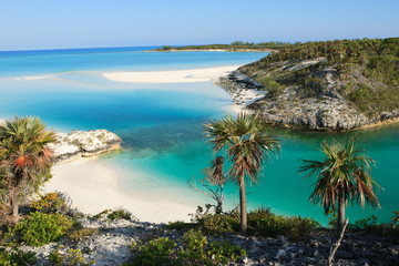A small paradise beach located on Shroud Cay in the Bahamas. Shroud Cay is part of the Exuma island chain and the Warderick Wells Land and Sea Park. Perfect, isolated beach. Wall mural