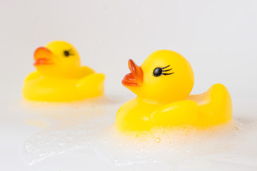 Yellow plastic ducks at bathtub