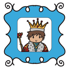 Image of a doodle style king framed into a blue picture frame
