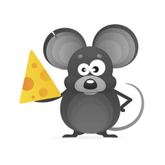 cartoon mouse with a piece of cheese