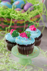 spring cupcakes in pastel colors with Easter basket and green basket grass