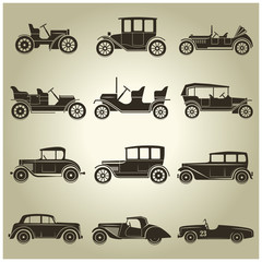 12 vector icons of retro car