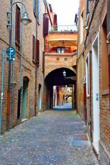 via delle volte, historical center, Ferrara Italy