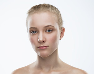 Face, serious, close up, white background