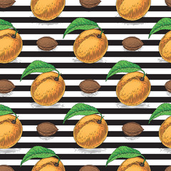 Seamless Pattern with Ripe Apricot