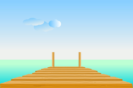 Wooden pier in turquoise sea with sky, clouds, and the horizon line. Vector illustration in flat design. Concepts of summer, travel, vacation, and relaxation. Use as background, backdrop, montage.