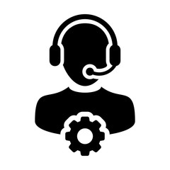 Service Icon Vector Male Operator Person Profile Avatar with Headset and Gear Cog Symbol for Industrial Business Support in Glyph Pictogram illustration