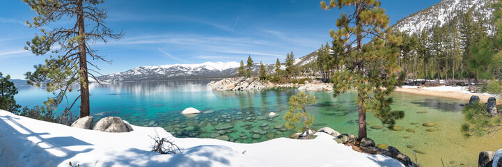 Wall Mural - Sand Harbor beach in winter panorama, Lake Tahoe