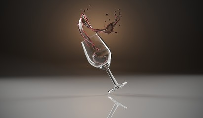 3D Rendering Of Realistic Wine Glass With Wine Splash on Wooden Background