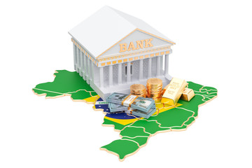 Banking system in Brazil concept. 3D rendering