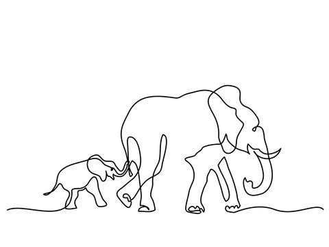 Continuous line drawing. Elephant mom with baby walking symbol. Logo of the elephant. Vector illustration