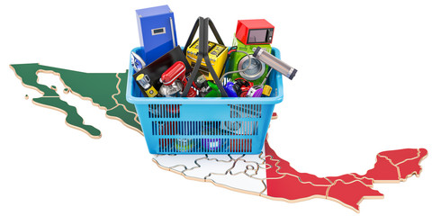 Map of Mexico with shopping basket full of home and kitchen appliances, 3D rendering