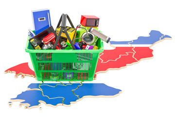 Map of North Korea with shopping basket full of home and kitchen appliances, 3D rendering